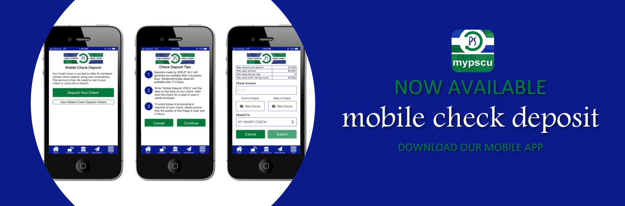 Mobile Check Deposit Available banner image