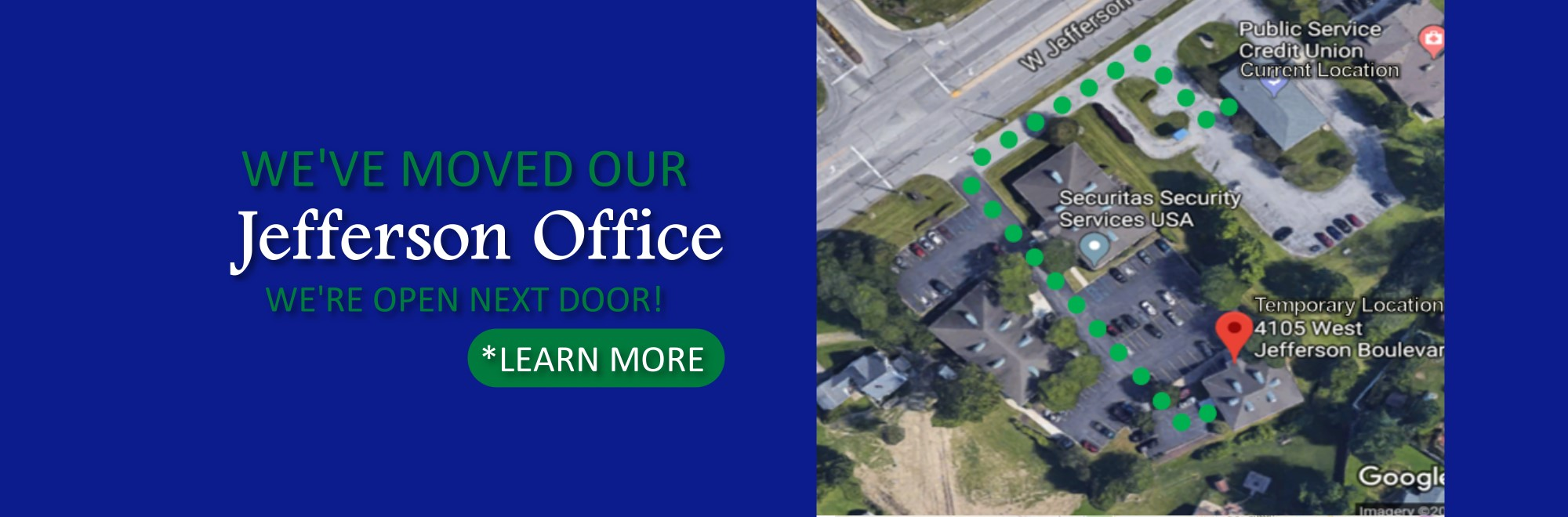 we've moved our jefferson office. we're open next door.