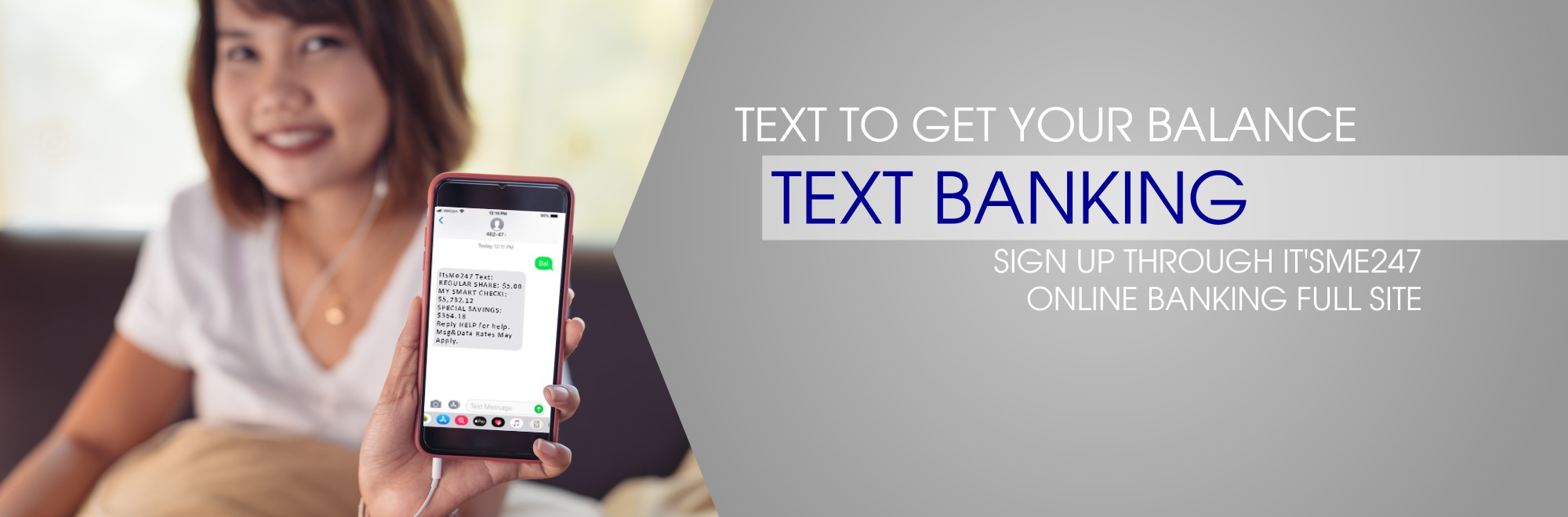 text to get your balances with text banking