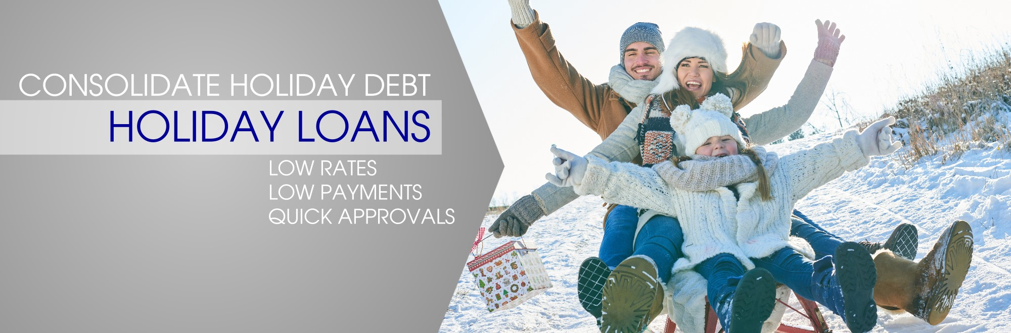 Consolidate Holiday Debit with a Holiday Loan. Low Payments. Low Rates. Quick Applications.