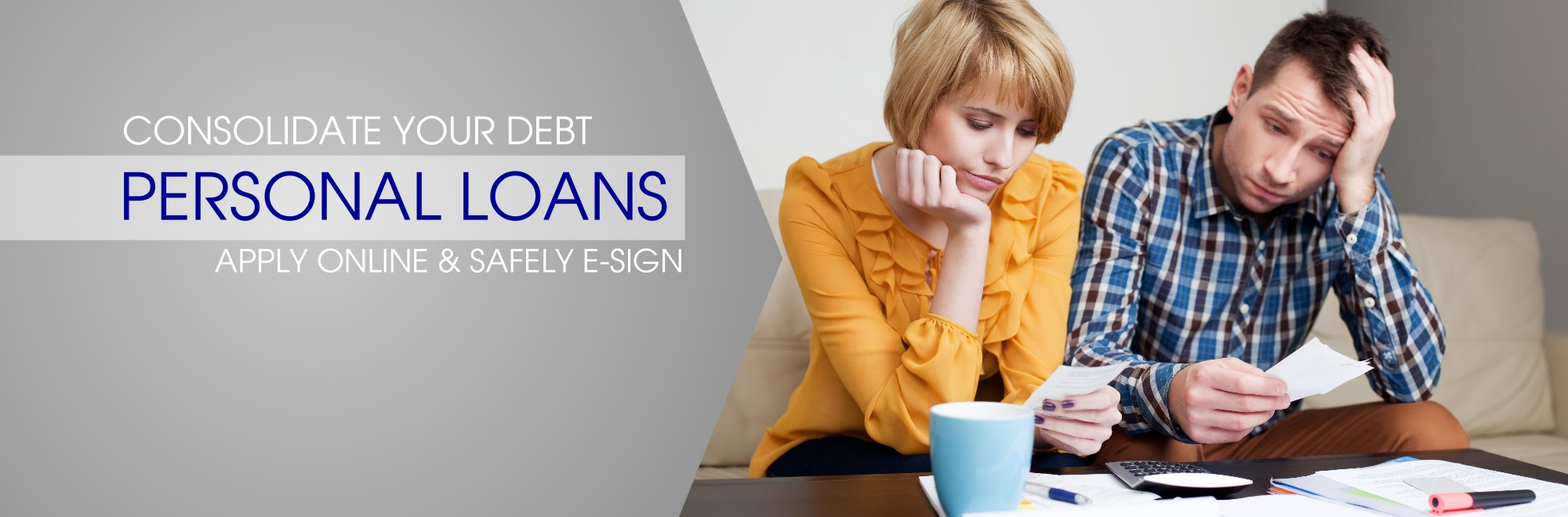 couple paying bills- consolidate debt with a personal loan, apply online and safely e-sign