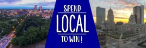 two aerial photos of fort wayne indiana downtown and text spend local to win