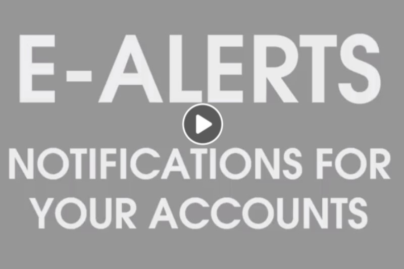 grey background with text e-alerts notifications for your accounts