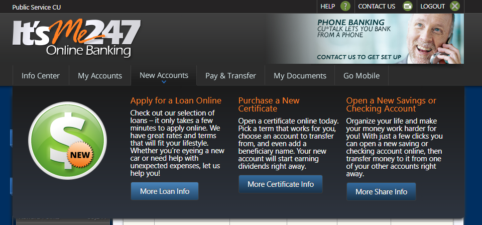Screenshot of New Account menu within online banking to apply for an auto loan