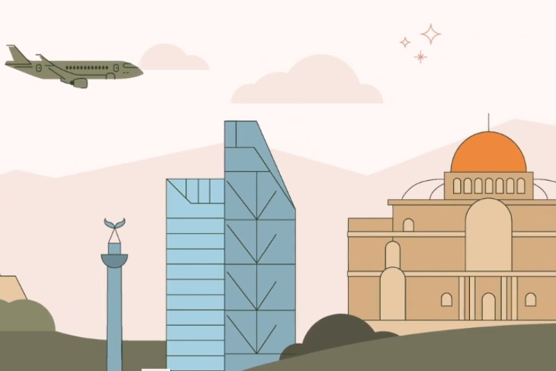 snip from ICUday video from cuna, illustration of plane flying over buildings