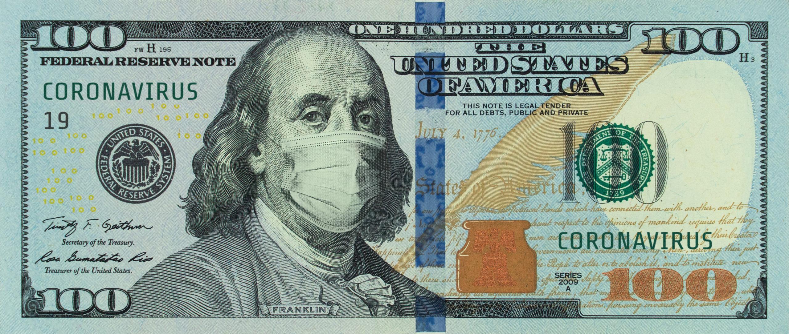 a coronavirus $100 bill with Benjamin Franklin wearing a mask