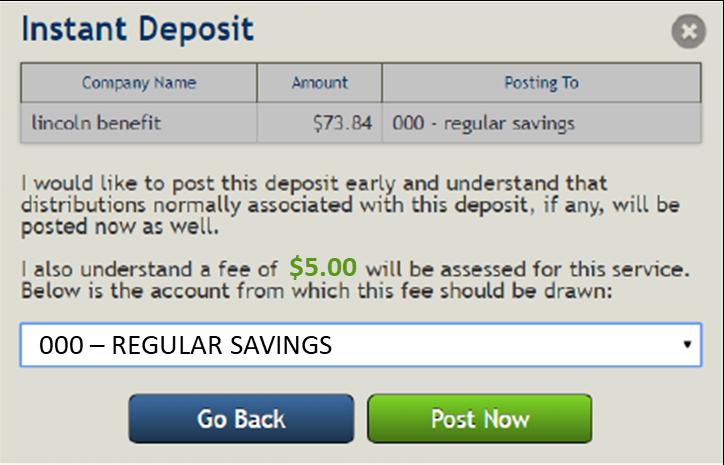 ACH Instant deposit fee acknowledgement screenshot
