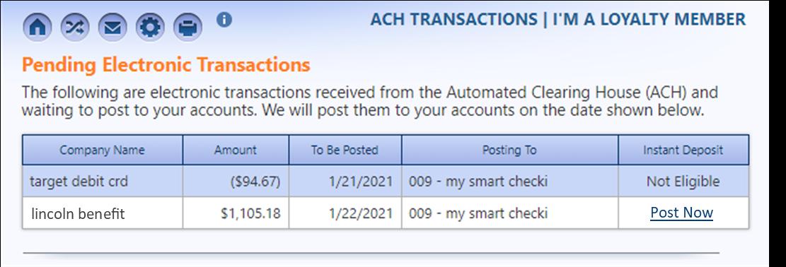 Pending ACH Transactions screenshot