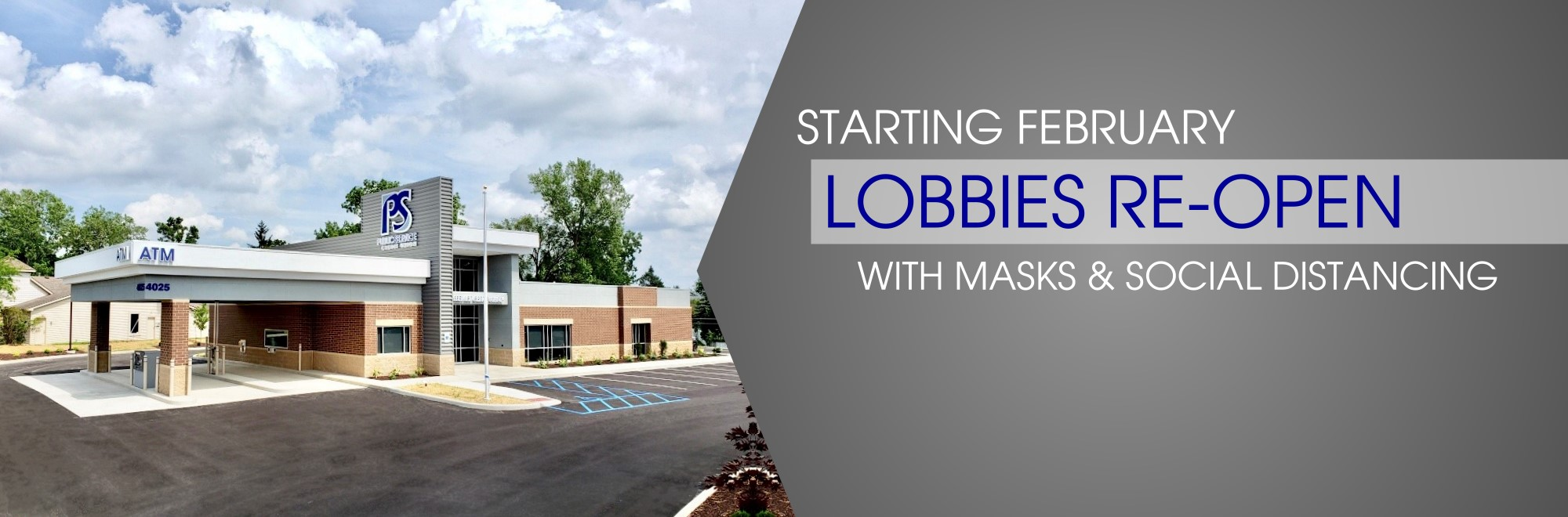 Starting February Lobbies Reopening with Masks and Social Distancing