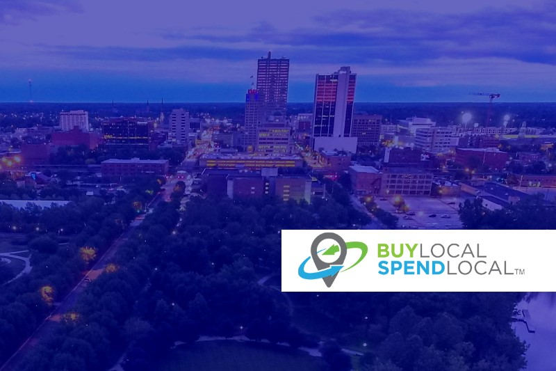 fort wayne skyline with buy local spend local logo