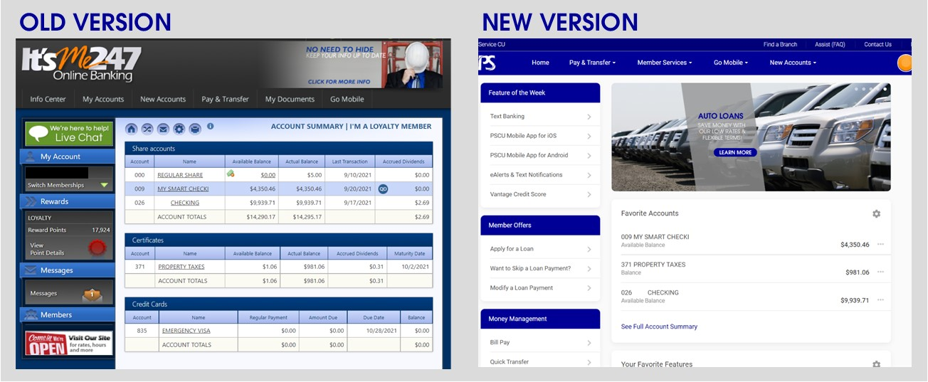 old and new version of online banking home page